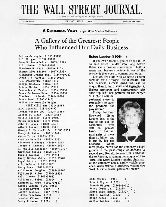 ... Street Journal s list of business influencers of the century – among  giants like Carnegie a5041b417
